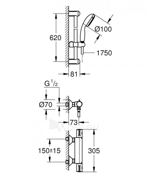 Grohtherm 800 termostatinis maišytuvas dušui su dušo komplektu New Tempesta, 600 mm Paveikslėlis 1 iš 2 310820163800