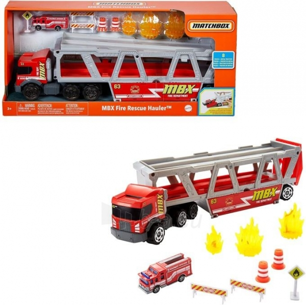 GWM23 Matchbox Fire Rescue Hauler Playset Themed Hauler with 1 Fire-Themed Vehicle Paveikslėlis 1 iš 6 310820252924
