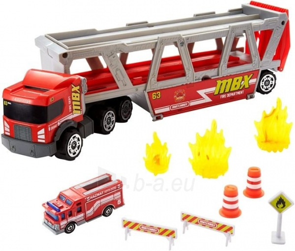 GWM23 Matchbox Fire Rescue Hauler Playset Themed Hauler with 1 Fire-Themed Vehicle Paveikslėlis 3 iš 6 310820252924