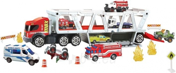 GWM23 Matchbox Fire Rescue Hauler Playset Themed Hauler with 1 Fire-Themed Vehicle Paveikslėlis 5 iš 6 310820252924