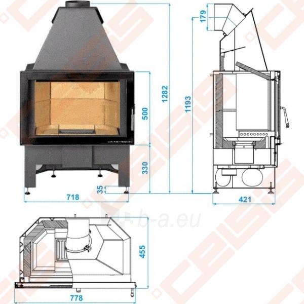 Haas+Sohn židinio komplektas ADONIS 1452x1510x750 su ugniakuru Jonava III 2,9-9,2kW Paveikslėlis 5 iš 5 300559000003