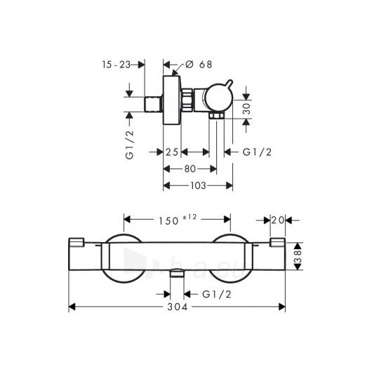 Hansgrohe termostatinis dušo maišytuvas Ecostat Comfort Paveikslėlis 1 iš 2 270721000524