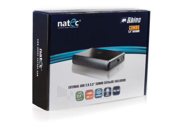 HDD korpusas Natec RHINO USB2.0, 3.5 SATA/IDE, Juodas aliuminis Paveikslėlis 5 iš 6 250255521717