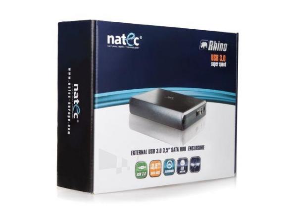 HDD korpusas Natec RHINO USB3.0, 3.5 SATA, Juodas aliuminis Paveikslėlis 5 iš 6 250255521718