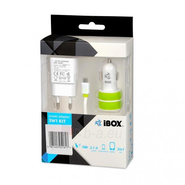 I-BOX 3W1KIT Nustatyti įkrovikliai: Automobilių ir siena çkroviklio USB, 2.1A Paveikslėlis 1 iš 6 310820011408