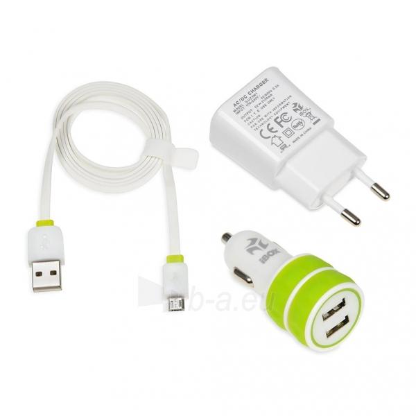 I-BOX 3W1KIT Nustatyti įkrovikliai: Automobilių ir siena çkroviklio USB, 2.1A Paveikslėlis 6 iš 6 310820011408