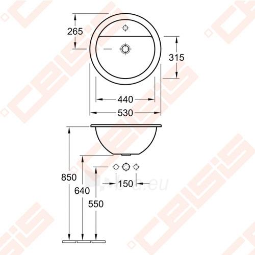 Įleidžiamas praustuvas VILLEROY&BOCH Loop&Friends ø530 mm Paveikslėlis 2 iš 2 270711001217