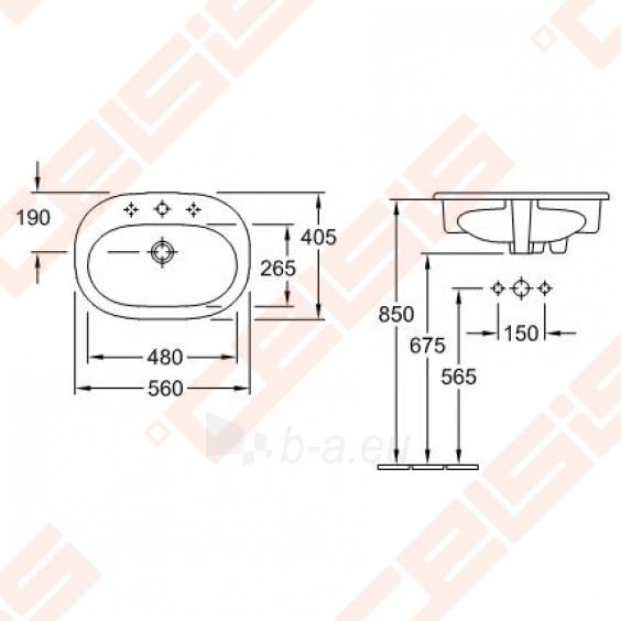 Įleidžiamas praustuvas VILLEROY&BOCH O.Novo 560x405 mm Paveikslėlis 2 iš 2 270711001218