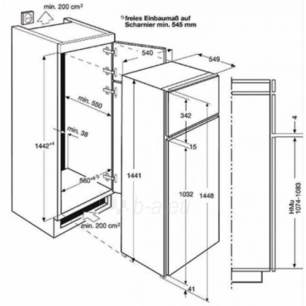 Įmontuojamas šaldytuvas Electrolux EJN2301AOW Paveikslėlis 3 iš 3 250137000207