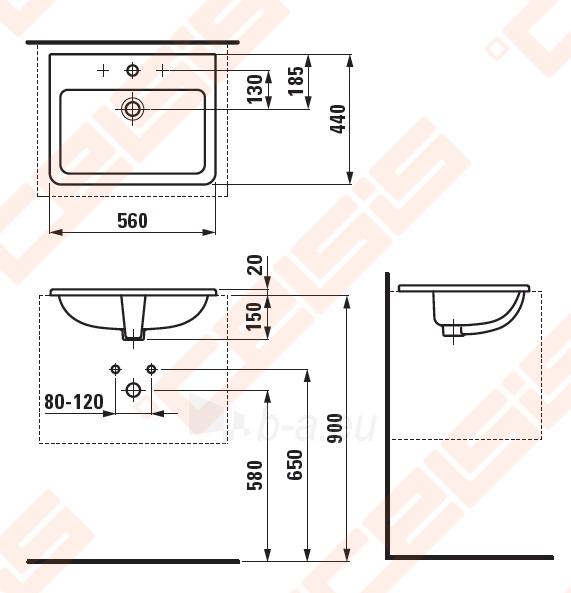 Iš viršaus įleidžiamas praustuvas LAUFEN Pro S 56x44 cm Paveikslėlis 2 iš 3 270711001219