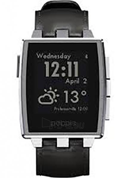 Išmanusis laikrodis PEBBLE Smartwatch Steel brushed stainless Leather 401SLR (Silver) Paveikslėlis 1 iš 3 310820014568