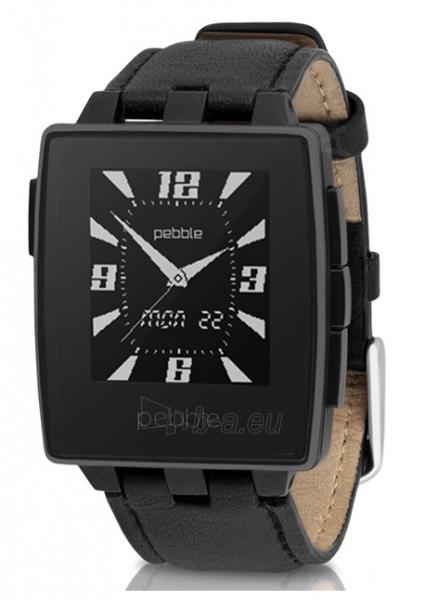 Išmanusis laikrodis PEBBLE Smartwatch Steel Leather 401BLR (Black) Paveikslėlis 1 iš 4 310820014553