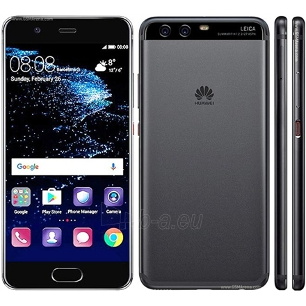 "Išmanusis telefonas Huawei P10 Graphite Black, 5.1 "", IPS-NEO LCD, 1080 x 1920 pixels, HiSilicon Kirin, 960, Internal RAM 4 GB, 64 GB, microSD, Dual SIM, Nano-SIM, 3G, 4G, Main camera Dual 20+12 MP, Second camera 8 MP, Android, 7.0, 3200 mAh, Warran Paveikslėlis 1 iš 1 310820091944"