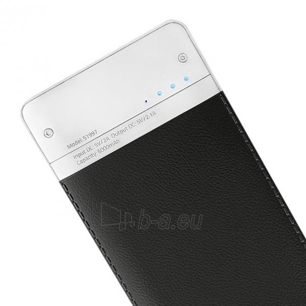 Išorinė baterija Power bank Qoltec 6000mAh Li-poly, black Paveikslėlis 2 iš 3 310820053676