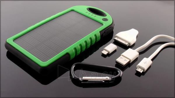 Power Bank su saulės baterija PowerNeed 1.2W 5000mAh, green Paveikslėlis 1 iš 10 250232002666