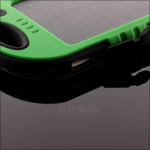 Power Bank su saulės baterija PowerNeed 1.2W 5000mAh, green Paveikslėlis 5 iš 10 250232002666