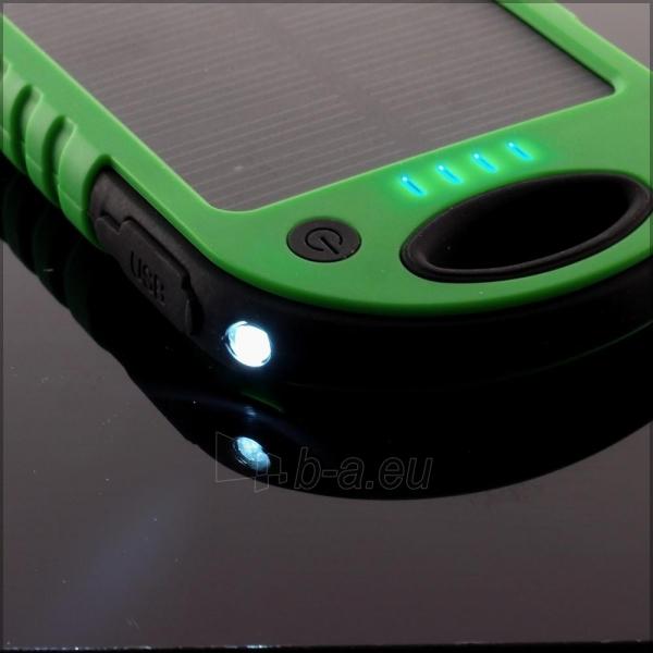 Power Bank su saulės baterija PowerNeed 1.2W 5000mAh, green Paveikslėlis 3 iš 10 250232002666