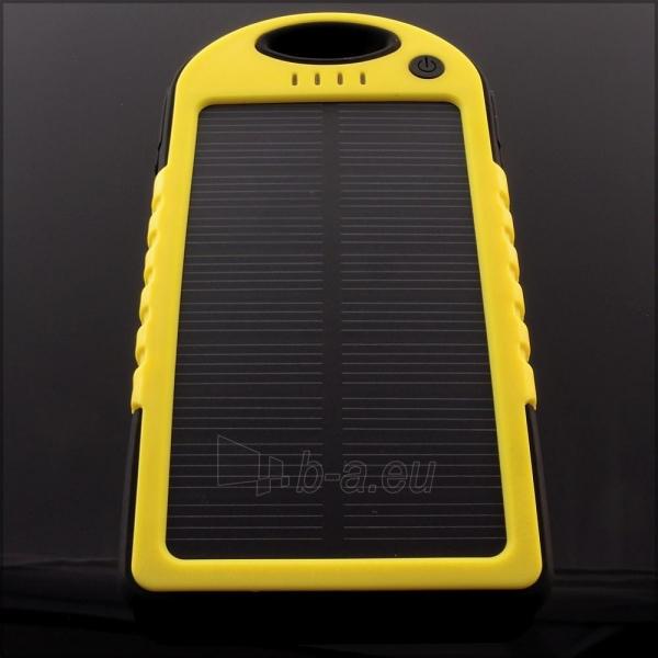 Power Bank su saulės baterija PowerNeed 1.2W 5000mAh, yellow Paveikslėlis 7 iš 10 250232002667