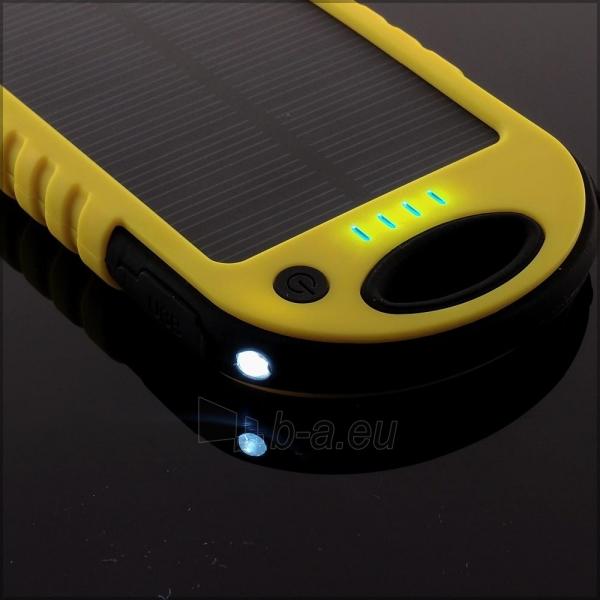 Power Bank su saulės baterija PowerNeed 1.2W 5000mAh, yellow Paveikslėlis 4 iš 10 250232002667