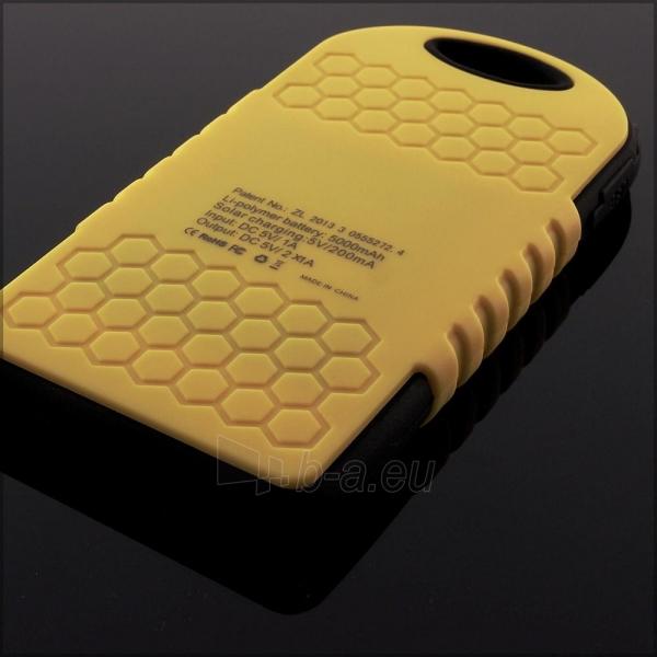 Power Bank su saulės baterija PowerNeed 1.2W 5000mAh, yellow Paveikslėlis 2 iš 10 250232002667
