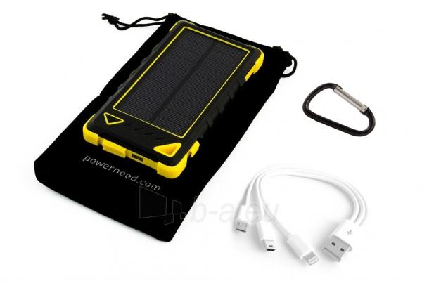 Power Bank su saulės baterija PowerNeed Sunen 1W 8000mAh, geltonas Paveikslėlis 5 iš 7 310820044247