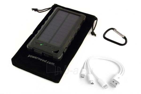Power Bank su saulės baterija PowerNeed Sunen 1W 8000mAh, juodas Paveikslėlis 5 iš 7 310820044245