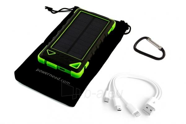 Power Bank su saulės baterija PowerNeed Sunen 1W 8000mAh, žalias Paveikslėlis 4 iš 6 310820044246