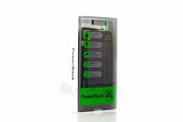 Power Bank su saulės baterija PowerNeed Sunen 1W 8000mAh, žalias Paveikslėlis 5 iš 6 310820044246
