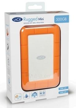 Išorinis diskas LaCie Rugged Mini 2.5'' 500GB USB3 7200RPM, Atspariausias Paveikslėlis 2 iš 2 250255521310