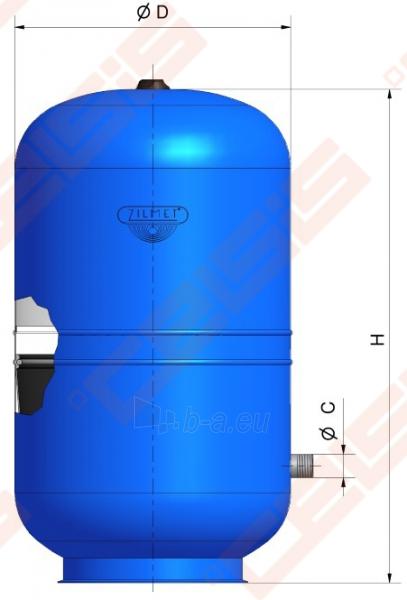 Išsiplėtimo indas vandeniui ZILMET 200l. Paveikslėlis 3 iš 3 270822000014