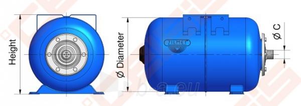 Išsiplėtimo indas ZILMET 50l 1' (horizontalus) Paveikslėlis 2 iš 2 270822000022