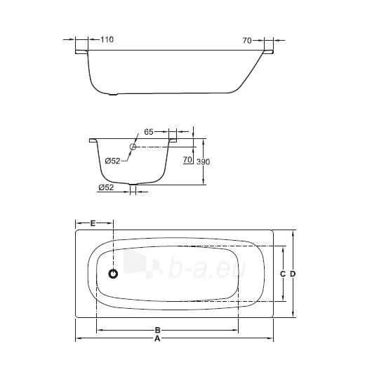 Jika Tanza plieninė vonia 160/170x75 cm Paveikslėlis 2 iš 3 270716000955