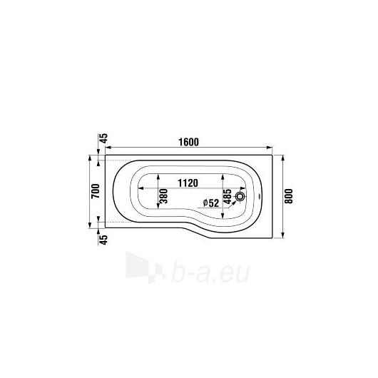 Jika Tigo vonia 160x80/70 montavimui su uždengimu L/R Paveikslėlis 1 iš 5 270716000781