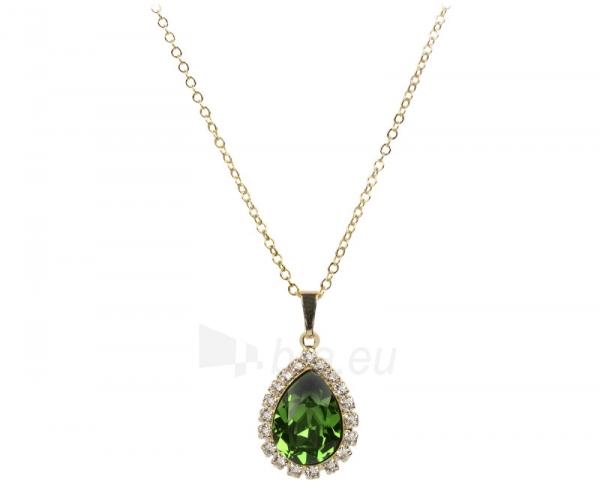 Kaklo papuošalas Troli Zlatý štrasový náhrdelník Pear Fern Green Paveikslėlis 1 iš 1 310820000874