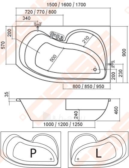 Kampinė asimetrinė vonia ROLTECHNIK ACTIVA 170x90 cm dešinė Paveikslėlis 2 iš 2 270716000967