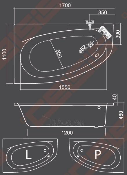 Kampinė asimetrinė vonia ROLTECHNIK ISABELLA NEO (P) 170x110 cm, dešinė Paveikslėlis 2 iš 2 270716000970