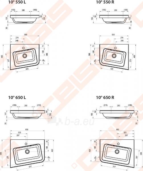 Kampinis praustuvas RAVAK 10° 65x53 cm (dešininis) Paveikslėlis 2 iš 4 270711001222