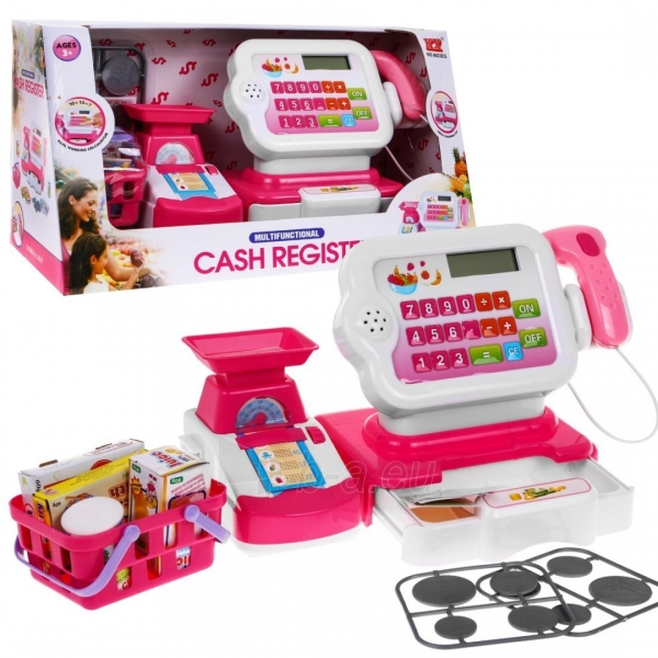 Kasos aparatas su krepšeliu ir kitais priedais, Rožinis Paveikslėlis 1 iš 7 310820252677