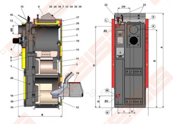Katilas Atmos DC25SP; 6-25kW (tinka kūrenti malkomis ir medienos granulėmis) Paveikslėlis 2 iš 3 271321000094