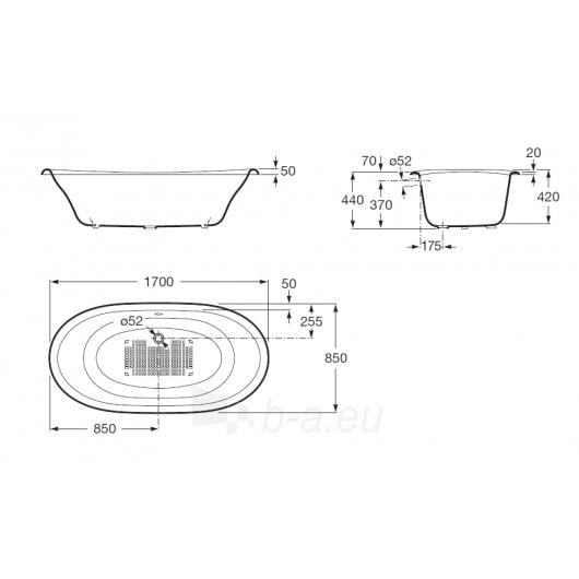 Ketinė vonia Newcast 170x85 balta su kojomis Paveikslėlis 3 iš 3 270716000770