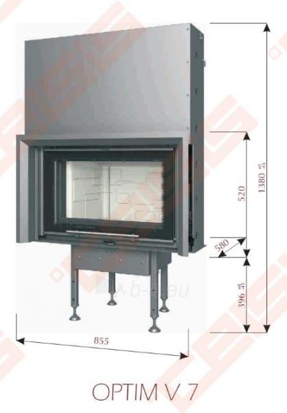 Ketinis židinio ugniakuras BEF HOME Optim V 7 (855 x 1380 x 580); 5-8,5kW Paveikslėlis 2 iš 4 271330000568