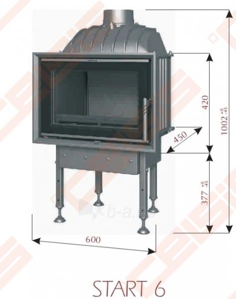 Ketinis židinio ugniakuras BEF HOME Start 6 (600 x 1002 x 450); 4-8kW Paveikslėlis 2 iš 7 271330000572