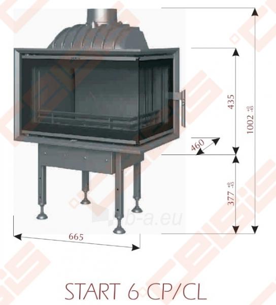 Ketinis židinio ugniakuras BEF HOME Start 6 CL (665 x 1002 x 460); 4-8kW Paveikslėlis 2 iš 7 271330000573