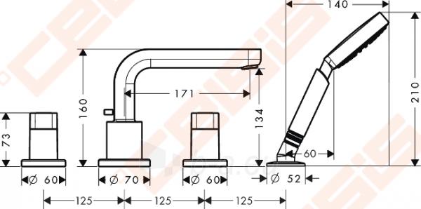 Keturių dalių vonios maišytuvas HANSGROHE Metris S Paveikslėlis 2 iš 3 270725000406