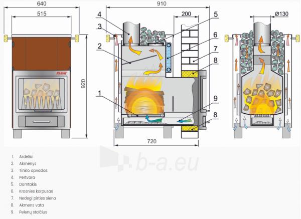 Kieto kuro pirties krosnis Kalvis PR2-1 15 kW su 1,7 kW vandens kontūru, išgaubta stiklo keramika Paveikslėlis 2 iš 2 310820254459