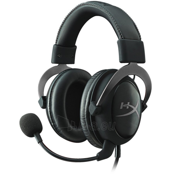 Kingston HyperX Cloud II - Pro Gaming Headset (Gun Metal), 7.1 surround, 53mm drivers, 1m cable +2m extension, USB audio control box, EAN: 740617235678 Paveikslėlis 1 iš 5 310820005422