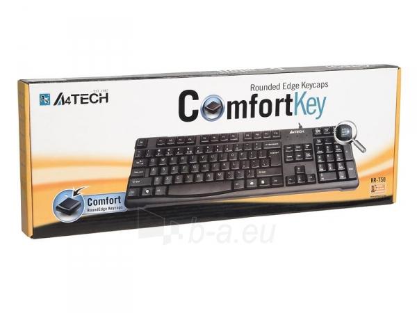 Klaviatūra A4-Tech KR-750 USB Juoda, US Paveikslėlis 4 iš 4 250255700969