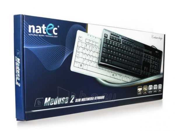 Klaviatūra Natec Medusa 2 USB, Itin plona profilis, Balta Paveikslėlis 4 iš 4 250255701010