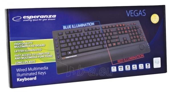 Klaviatūra su apšvietimu Esperanza EK114 USB Mėlyna/ Raudona šviesa Paveikslėlis 9 iš 14 250255701019