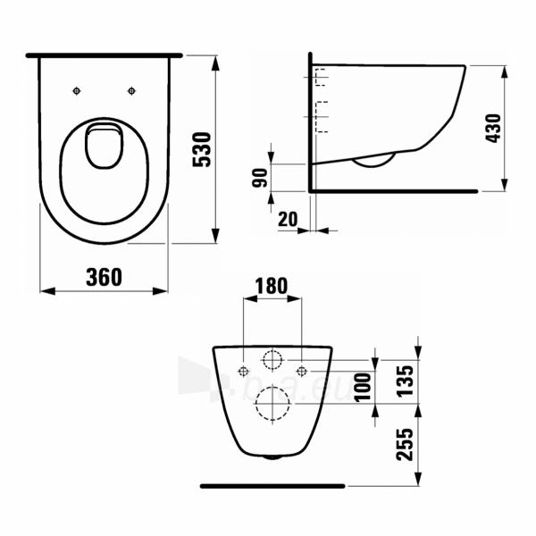 Toilet Laufen Pro New  tvirtinamas prie sienos 53cm, baltas Paveikslėlis 3 iš 6 270713000734